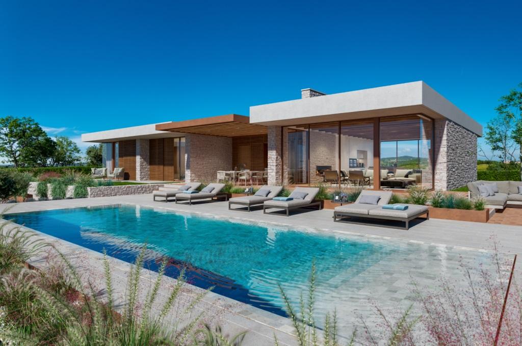 Luxusvillen Umag Farkaaš, zu verkaufen, neue luxusvilla mit pool, Brtonigla